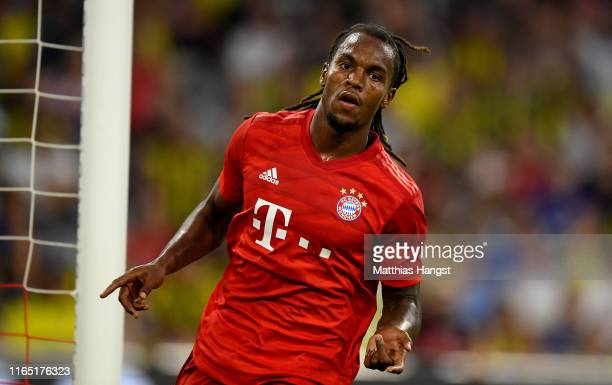 Renato Sanches of Muenchen celebrates after he scores the opening goal during the Audi Cup 2019 semi final match between FC Bayern Muenchen and...