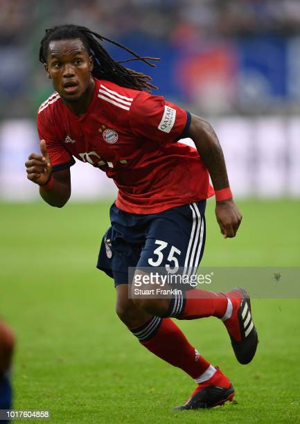 Renato Sanches of Muenchen in action during the friendly match between Hamburger SV and Bayern Muenchen at Volksparkstadion on August 15 2018 in...