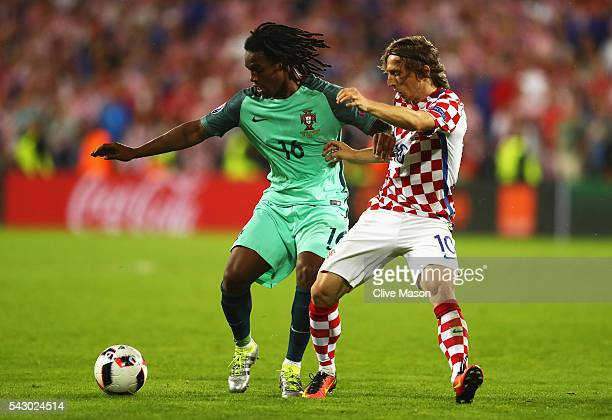 Renato Sanches of Portugal and Luka Modric of Croatia compete for the ball during the UEFA EURO 2016 round of 16 match between Croatia and Portugal...