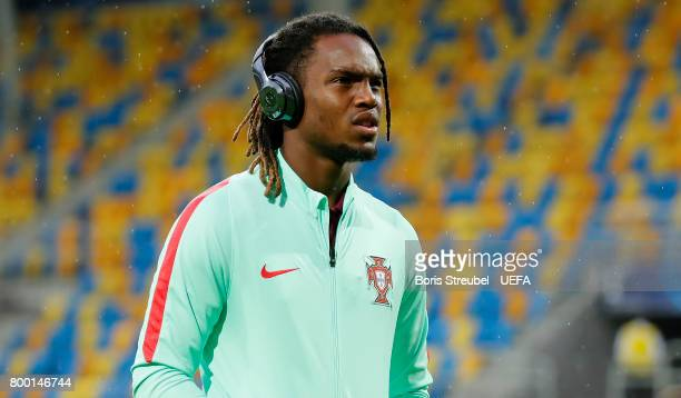 Renato Sanches of Portugal arrives at the arena prior to the UEFA European Under21 Championship Group B match between Macedonia and Portugal at...