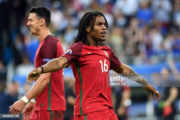 Renato Sanches of Portugal celebrates after Portugal's 10 win against France during the UEFA EURO 2016 Final match between Portugal and France at...