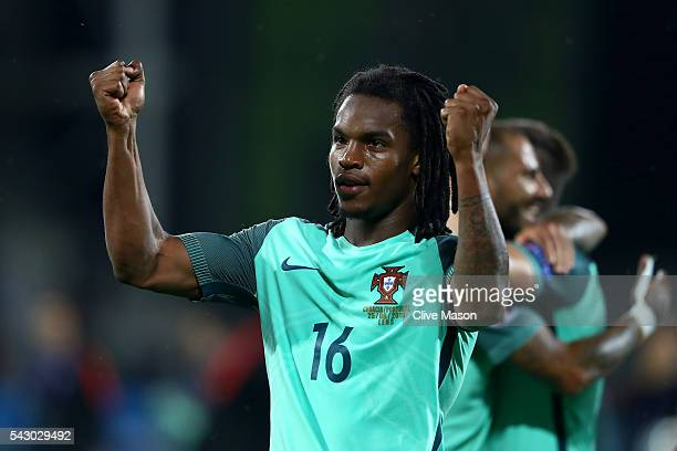 Renato Sanches of Portugal celebrates his team's 10 win after the UEFA EURO 2016 round of 16 match between Croatia and Portugal at Stade...
