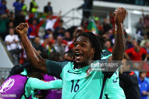 Renato Sanches of Portugal celebrates his team's first goal during the UEFA EURO 2016 round of 16 match between Croatia and Portugal at Stade...