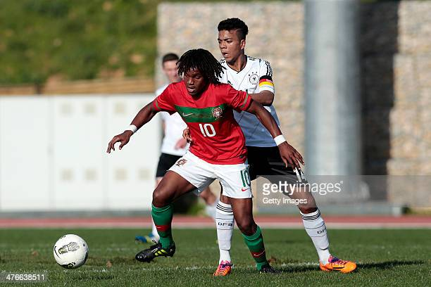 Renato Sanches of Portugal challenges Benjamin Henrichs of Germany during the UEFA Under16 Tournament match between U16 Portugal v U16 Germany on...