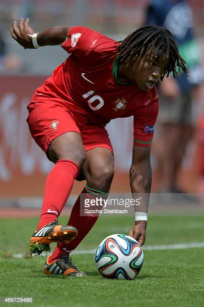 Renato Sanches of Portugal controls the ball during the UEFA Under17 European Championship 2014 group B match between Switzerland and Portugal at...