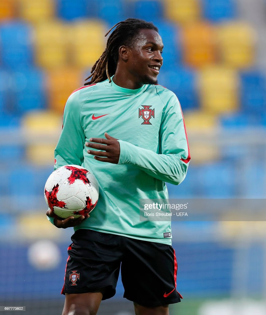 Renato Sanches of Portugal reacts during the MD-1 training session of the U21 national team of Portugal at Gdynia Sports Arena on June 19, 2017 in Gdynia, Poland.