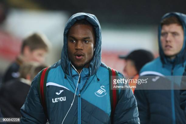 Renato Sanches of Swansea City arrives at Liberty Stadium prior to kick off of the Premier League match between Swansea City and Tottenham Hotspur at...