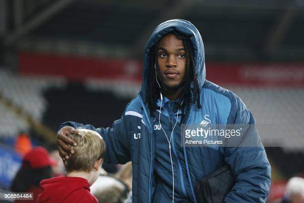 Renato Sanches of Swansea City arrives at Liberty Stadium prior to kick off of the Premier League match between Swansea City and Liverpool at the...