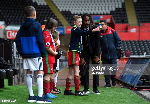 Renato Sanches of Swansea City arrives at the stadium prior to the Premier League match between Swansea City and West Bromwich Albion at Liberty...