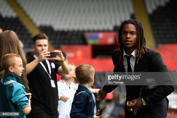 Renato Sanches of Swansea City arrives prior to the Premier League match between Swansea City and Newcastle United at Liberty Stadium on September 10...