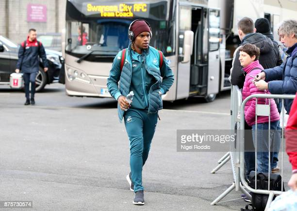 Renato Sanches of Swansea City arrives prior to the Premier League match between Burnley and Swansea City at Turf Moor on November 18 2017 in Burnley...