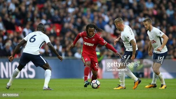 Renato Sanches of Swansea City attempts to get past Toby Alderweireld of Tottenham Hotspur during the Premier League match between Tottenham Hotspur...
