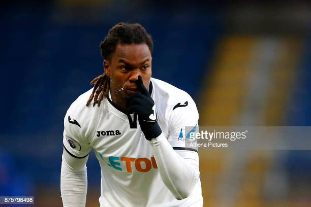 Renato Sanches of Swansea City clears his nose during the Premier League match between Burnley and Swansea City at Turf Moor on November 18 2017 in...