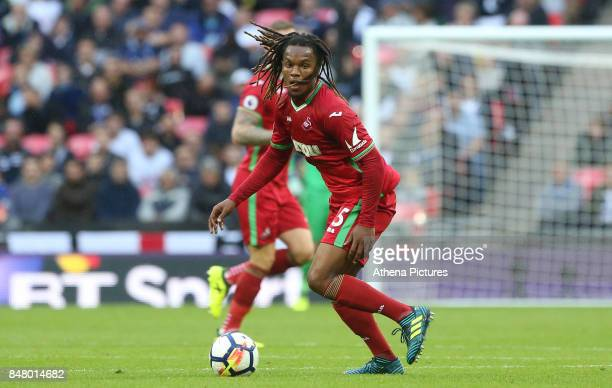 Renato Sanches of Swansea City during the Premier League match between Tottenham Hotspur and Swansea City at Wembley Stadium on September 16 2017 in...