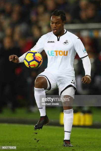 Renato Sanches of Swansea City during the Premier League match between Swansea City and Tottenham Hotspur at Liberty Stadium on January 2 2018 in...