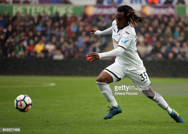 Renato Sanches of Swansea City in action during the Premier League match between Swansea City and Newcastle United at The Liberty Stadium on...