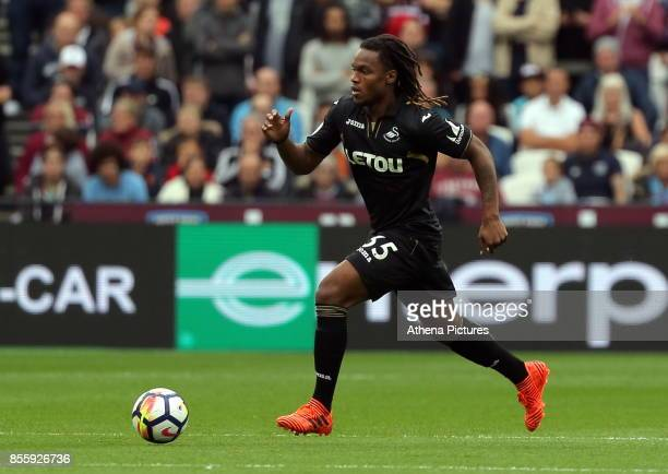 Renato Sanches of Swansea City in action during the Premier League match between West Ham United v Swansea City at the London Stadium on September 30...