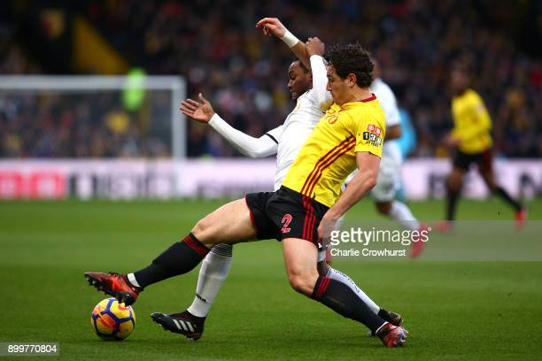 Renato Sanches of Swansea City is challenged by Daryl Janmaat of Watford during the Premier League match between Watford and Swansea City at Vicarage...
