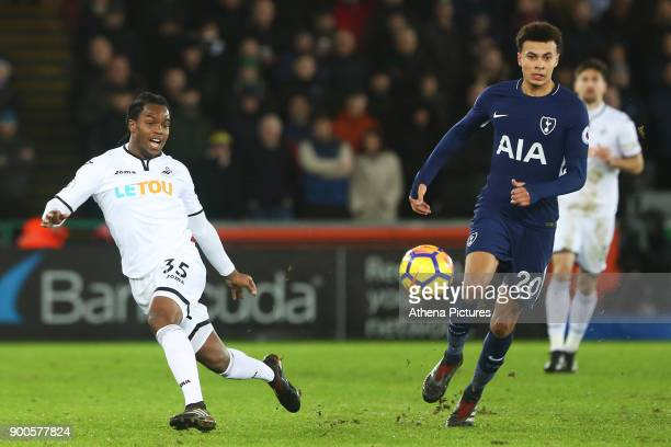 Renato Sanches of Swansea City is marked by Dele Alli of Tottenham Hotspur during the Premier League match between Swansea City and Tottenham Hotspur...