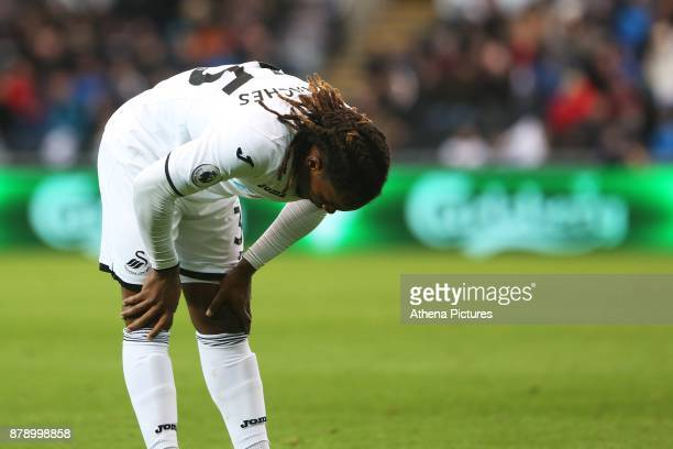 Renato Sanches of Swansea City looks dejected during the Premier League match between Swansea City and Bournemouth at the Liberty Stadium on November...