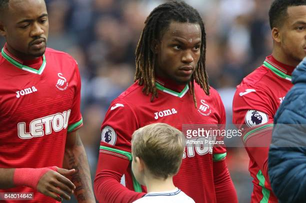 Renato Sanches of Swansea City prior to kick off of the Premier League match between Tottenham Hotspur and Swansea City at Wembley Stadium on...