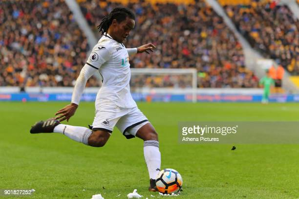 Renato Sanches of Swansea City takes a free kick during the Emirates FA Cup match between Wolverhampton Wanderers and Swansea City at The Molineux...