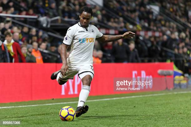 Renato Sanches of Swansea City takes a free kick during the Premier League match between Watford and Swansea City at the Vicarage Road on December 30...