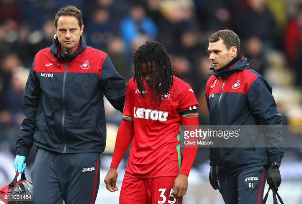 Renato Sanches of Swansea City walks off the pitch following an injury during The Emirates FA Cup Fourth Round match between Notts County and Swansea...