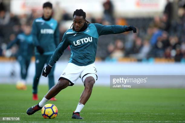 Renato Sanches of Swansea City warms up prior to the Premier League match between Swansea City and AFC Bournemouth at Liberty Stadium on November 25...