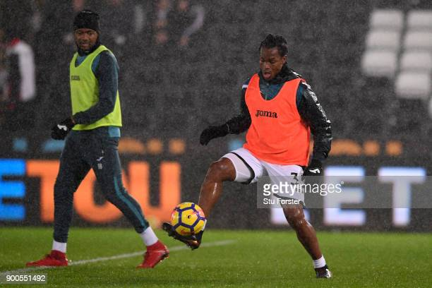 Renato Sanches of Swansea City warms up prior to the Premier League match between Swansea City and Tottenham Hotspur at Liberty Stadium on January 2...