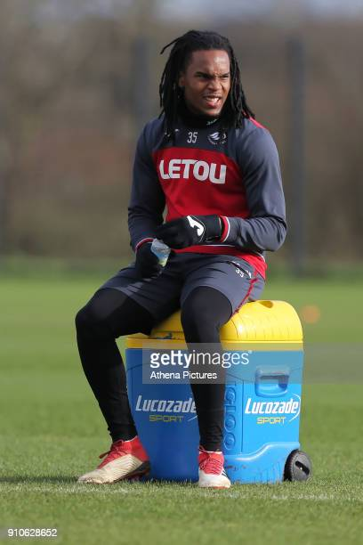 Renato Sanches rests during the Swansea City Training at The Fairwood Training Ground on January 25 2018 in Swansea Wales