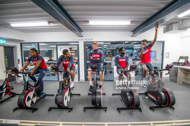 Renato Sanches Wayne Routledge Alfie Mawson Nathan Dyer and Tammy Abraham exercise on bikes during the Swansea City training session at The Fairwood...