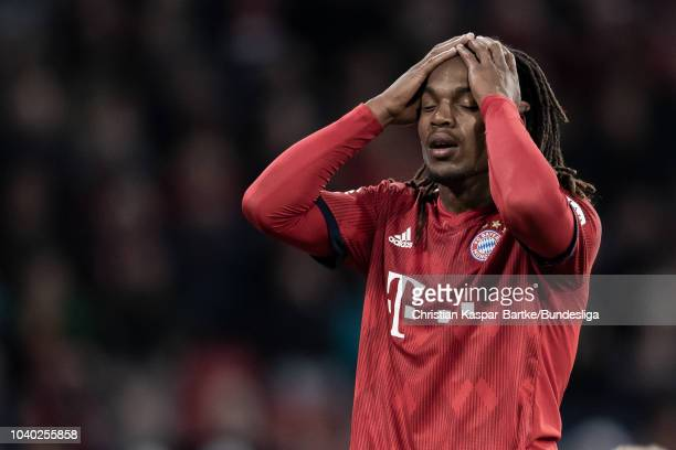 Renato Sanchez reacts during the Bundesliga match between FC Bayern Muenchen and FC Augsburg at Allianz Arena on September 25 2018 in Munich Germany