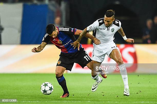Renato Steffen of Bale and Anicet Abel of Ludogorets during the Uefa Champions League match between Basel Fc and PFC Ludogorets Razgrad on September...