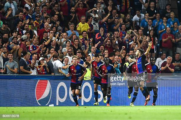 Renato Steffen of Basel celebrates during the Uefa Champions League match between Basel Fc and PFC Ludogorets Razgrad on September 13 2016 in Basel...