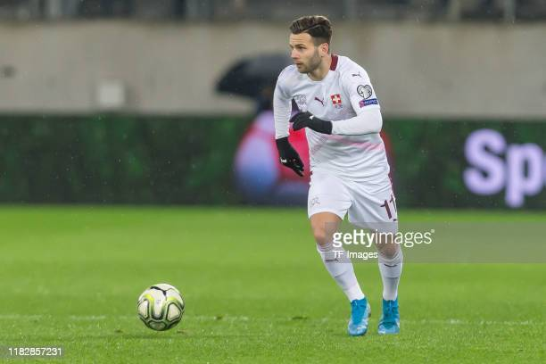 Renato Steffen of Switzerland controls the ball during the UEFA Euro 2020 Qualifier between Switzerland and Georgia on November 15, 2019 in St...