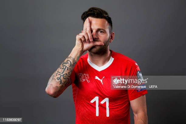 Renato Steffen of Switzerland poses for a portrait during the UEFA Nations League Finals Portrait Shoot on June 02, 2019 in Zurich, Switzerland.