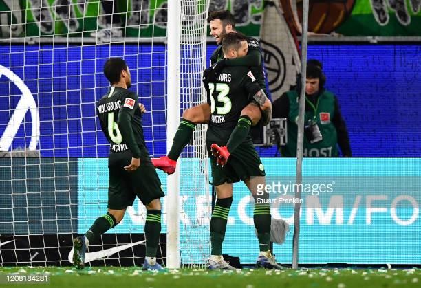 Renato Steffen of VfL Wolfsburg celebrates after scoring his sides second goal during the Bundesliga match between VfL Wolfsburg and 1. FSV Mainz 05...