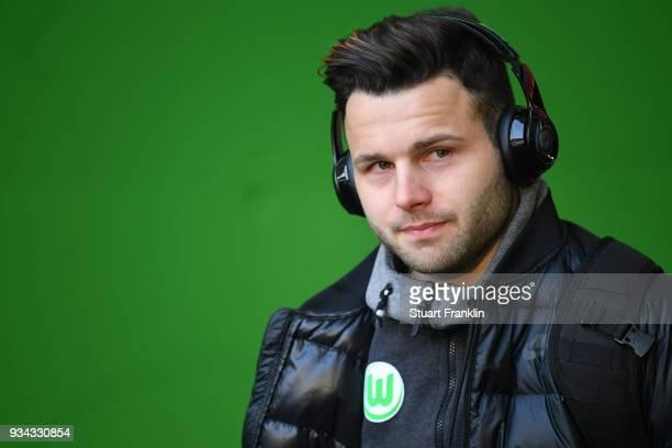Renato Steffen of Wolfsburg arrives prior to the Bundesliga match between VfL Wolfsburg and FC Schalke 04 at Volkswagen Arena on March 17 2018 in...