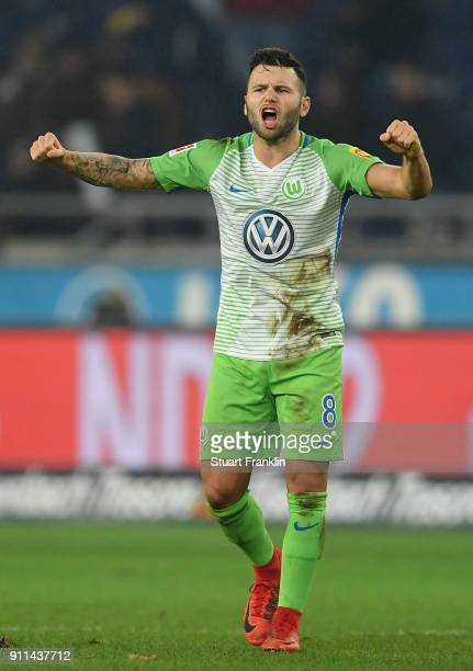 Renato Steffen of Wolfsburg celebrates after the Bundesliga match between Hannover 96 and VfL Wolfsburg at HDIArena on January 28 2018 in Hanover...