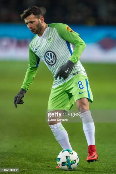 Renato Steffen of Wolfsburg in action during the Bundesliga match between Borussia Dortmund and VfL Wolfsburg at Signal Iduna Park on January 14 2018...