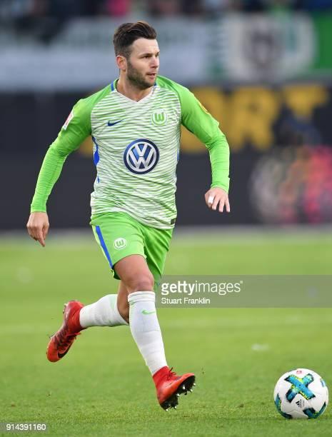 Renato Steffen of Wolfsburg in action during the Bundesliga match between VfL Wolfsburg and VfB Stuttgart at Volkswagen Arena on February 3 2018 in...