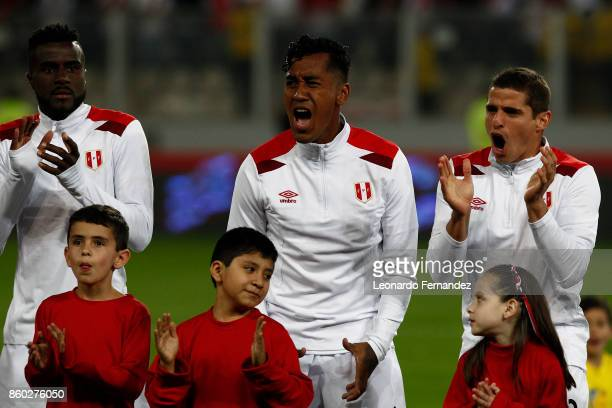 Renato Tapia Aldo Corzo and Christian Ramos of Peru cheer before the match between Peru and Colombia as part of FIFA 2018 World Cup Qualifiers at...