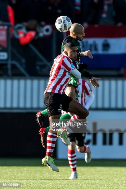 Renato Tapia of Feyenoord Deroy Duarte of Sparta Rotterdam during the Dutch Eredivisie match between Sparta Rotterdam and Feyenoord Rotterdam at the...