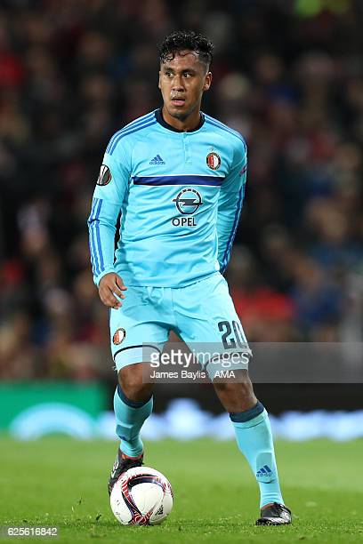 Renato Tapia of Feyenoord in action during the UEFA Europa League match between Manchester United FC and Feyenoord at Old Trafford on November 24...
