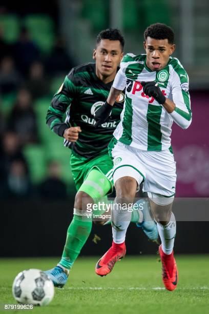 Renato Tapia of Feyenoord Juninho Bacuna of FC Groningen during the Dutch Eredivisie match between FC Groningen and Feyenoord Rotterdam at Noordlease...