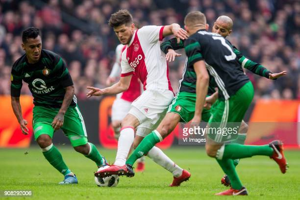 Renato Tapia of Feyenoord Klaas Jan Huntelaar of Ajax Karim El Ahmadi of Feyenoord during the Dutch Eredivisie match between Ajax Amsterdam and...