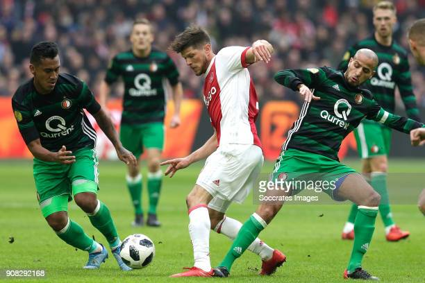 Renato Tapia of Feyenoord Klaas Jan Huntelaar of Ajax Karim El Ahmadi of Feyenoord during the Dutch Eredivisie match between Ajax v Feyenoord at the...