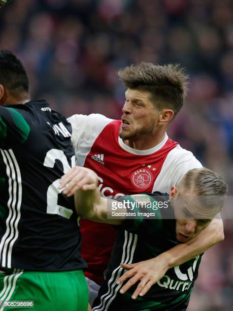 Renato Tapia of Feyenoord Klaas Jan Huntelaar of Ajax Sven van Beek of Feyenoord during the Dutch Eredivisie match between Ajax v Feyenoord at the...