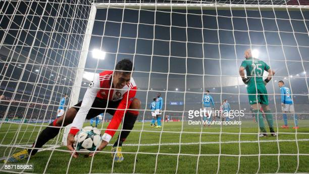 Renato Tapia of Feyenoord picks the ball out of the net after Jeremiah St Juste of Feyenoord scored his sides second goal during the UEFA Champions...